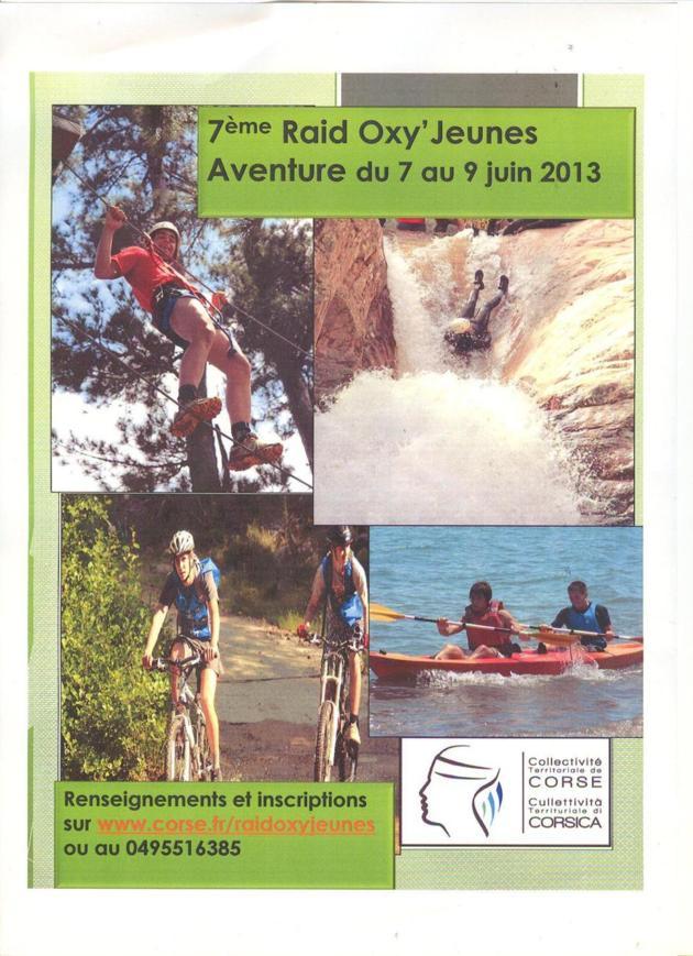 7 éme édition du Raid Oxy Jeunes Aventure  : 7- 9 Juin 2013.